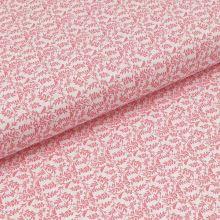 Bavlněné plátno bílé, růžové větvičky s ptáčky, š.140