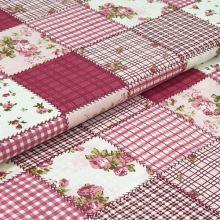 Bavlnené plátno ružový patchvork, drobný kvet, š.140