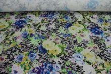 Úplet modrožluté květy s krajkou, š.145
