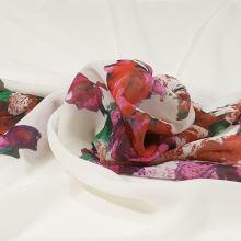 Šifón biely, červený kvet, š.145