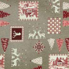 Vianočná dekoračná látka béžová, bielo-červený motív, š.280