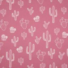 Dekorační materiál starorůžový, bílé kaktusy, š.150