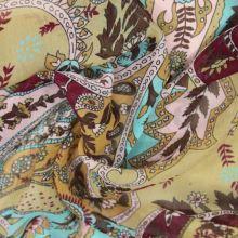 Šifon vínovo-béžový barevný vzor š.140