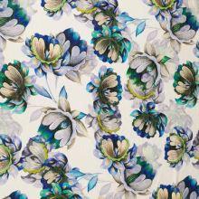 Úplet biely, béžovo-modré kvety, š.160