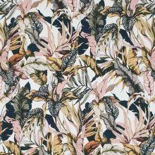 Bavlna biela, farebné listy, š.130