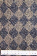 Kabátovina modro-béžová, kosoštvorec, š.150