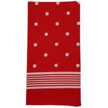 Dámský šátek červený, bílé puntíky, 70x70cm