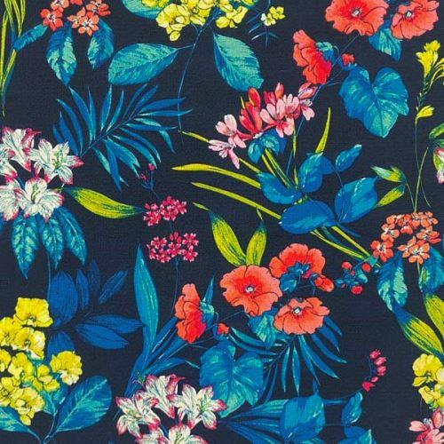 Šatovka N4467 modrá, krep, farebný kvet, š.150