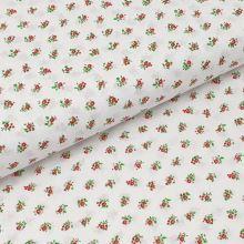Bavlněné plátno bílé, růžové drobné kytice, š.140