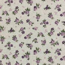 Dekoračná látka režná, lila ružičky, š.140