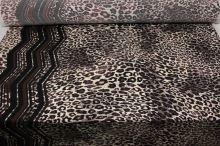 Úplet krémovo-hnědý, zvířecí vzor a bordura, š.140