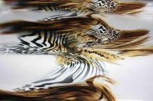 Satén wild animal, zlatočerný vzor, š.150