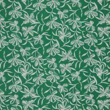 Úplet zelený, biele kvety, š.150