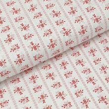 Bavlnené plátno biele, červený kvetinový motív, š.140
