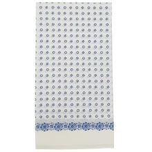 Dámska šatka biela, modré kvety, 70x70cm
