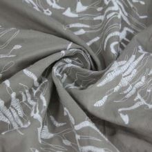 Košilovina béžová, bílá výšivka, š.140
