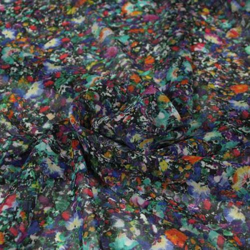 Šifon černý 16634, barevný květ š.145