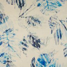 Len krémový, modré listy, š.135
