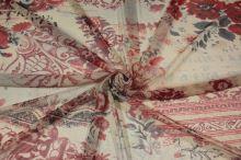 Tyl tělový, vínový tisk, květy, š.160