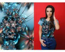 Úplet modrý, květy a bubliny, š.175