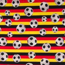 Úplet barevné pruhy, fotbalové míče, š.150