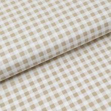 Bavlnené plátno svetle béžovo-biela kocka, š.140