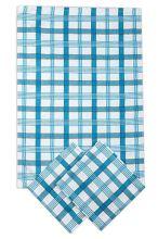 Utěrky z egyptské bavlny, moderní modré káro, 50x70cm, 3ks
