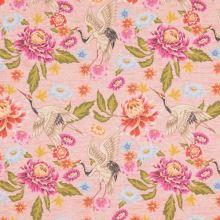 Úplet růžové melé, barevný květ, pták, š.150