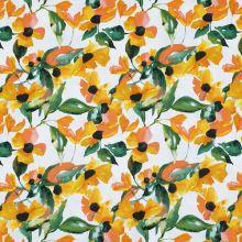 Bavlna bílá, žluté květy, š.150
