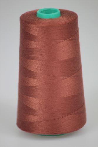 Niť KORALLI polyesterová 120, 5000Y, odtieň 8180, hnedá-oranžová