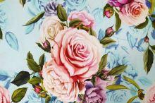 Úplet světle modrý, květinový vzor, š.175