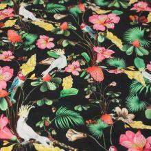 Úplet čierny, farebné kvety a vtáky, š.155 cm