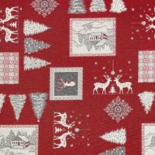 Vianočná dekoračná látka červená, bielo-šedý motív, š.280
