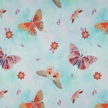 Teplákovina nepočesaná aqua, motýli, š.155