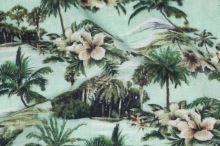 Šatovka, zelený palmový vzor, š.135