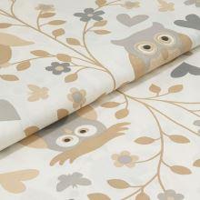 Bavlněné plátno smetanové, béžovo-šedé sovy, š.160