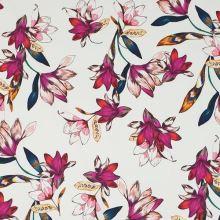 Bavlna biela, ružovo-červené kvety, š.145