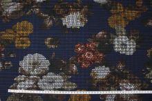 Kostýmovka modrá 15199, barevný květ, š.150