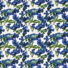 Bavlna biela, modré kvety a zelené listy, š.145