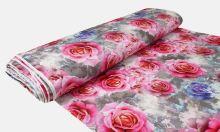 Úplet mramorovaný, růžové a modré růže, š.175