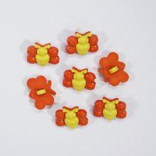 Gombík detský žltooranžový, motýľ, 18 mm