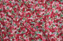 Bavlna barevný květ, růžová-červená-zelená 145