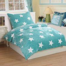 Obliečky mikroflanel SLEEP WELL 70x90/140x200cm - hviezdy na tyrkysové
