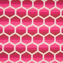 Dekorační materiál, růžový geometrický vzor, š.150