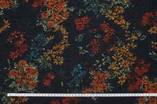 Kostýmovka černá 15190, barevný vzor, š.150