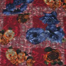 Kostýmovka červená 15202, farebný kvet, š.150