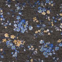Úplet šedá melanž, modré květy, š.145