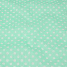 Bavlna světle zelená, bílý puntík, š.160
