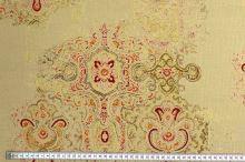 Košeľový menčester béžový, farebné ornamenty, š.150