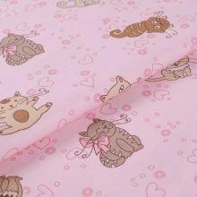 Bavlněné plátno růžové, kočky, š.145